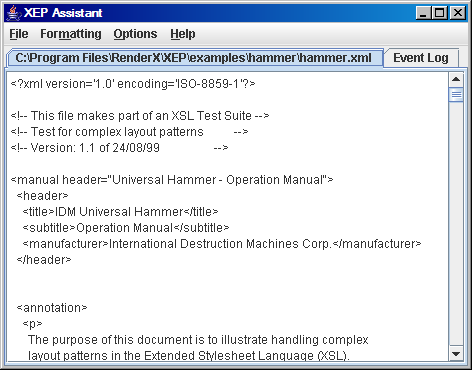 XML file displayed in XEP Assistant