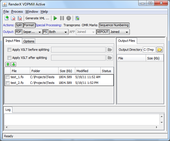 Input files displayed in VDPMill Interactive